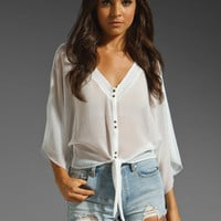 DV by DOLCE VITA Tabatha Tie Front Kimono Blouse in Cream at Revolve Clothing - Free Shipping!