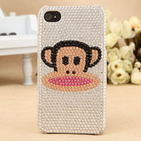 iPhone 4S 4G 3GS iPod Touch Popular Cartoon Paul Frank White Crystals Case - GULLEITRUSTMART.COM