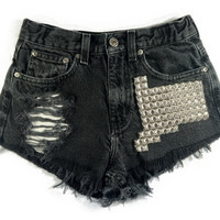 Boson Silver short studded black cutoff shorts by Omeneye on Etsy