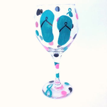 Hand painted Flip flop wine glass cancer teal awareness ribbon