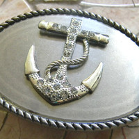 Rhinestone Anchor Belt Buckle,  Silver Western Mens Womens Ships Anchor Buckle, Beach Wear Nautical Belt Buckle, Silver Anchor Belt
