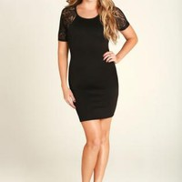Black Lace Sleeved Bodycon Dress