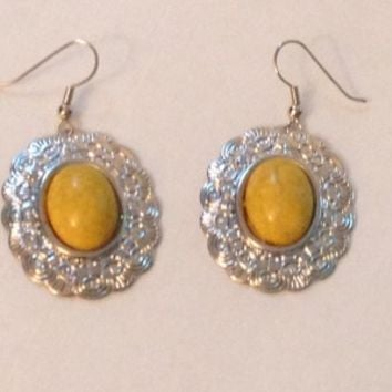Silver Oval Earrings- Yellow