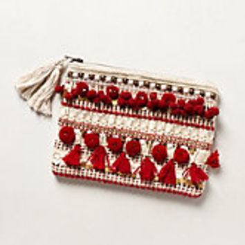 Pom Tasseled Pouch by Jasper & Jeera Red One Size Clutches