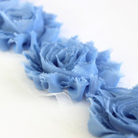 1/2 Yard Light Blue Shabby Flower Trim, Wholesle Flowers, Shabby Chiffon Flowers, Shabby Rose Trim, Headband Supplies, Hair Bow Supplies