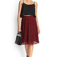 FOREVER 21 Accordion Pleated Lace Skirt Burgundy