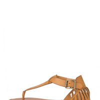 Cut Out Fang Sandals - Tan