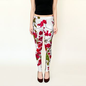 Beautiful Minimal Style Red Petals Flowers Leggings by Daniel Ferreira-Leites (Leggings)