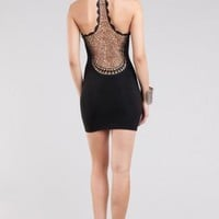 Low back Crochet Designs Mini Dress- Black