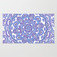Lilac Spring Mandala - floral doodle pattern in purple & white Area & Throw Rug by micklyn | Society6