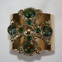 Vintage Cuff Bracelet Chunky Maltese Cross  Wide 1950s  Jewelry