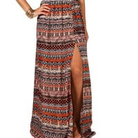Sale-mixed Print Belted Side Slit Maxi