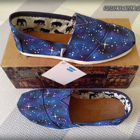 Toms Galaxy Painted Shoes/ Toms Custom Shoes