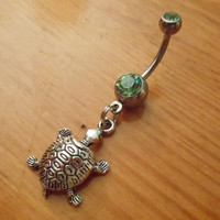 Belly button ring Silver turtle and green gem by ChelseaJewels