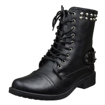 Womens Ankle Boots Faux Leather Spiked Studded Lace Up Combat Boots Black