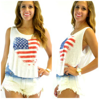 Heart of America Off White Slub Loose Tank