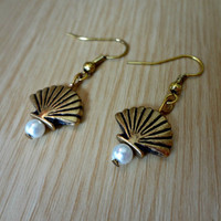 Golden Shell and Pearl Earrings by EudaimoniaJewelry on Etsy