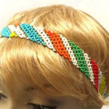 Seed Bead Pastel Striped Bohemian Style Stretch Headband