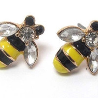 Crystal Accented Bumble Bee Stud Earrings