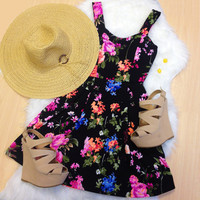 Adele Floral Dress - Black