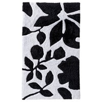 Room Essentials® Floral Bath Rug - Black/White (20x34)