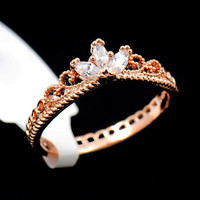 Rose Gold and CZ Delicate Tiara Crown Princess Ring