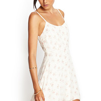 FOREVER 21 Soft Floral Cami Dress Cream/Pink