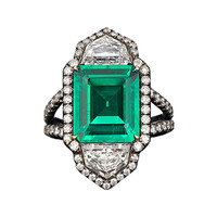 Colombian 4.69 carat Emerald and Diamond Ring
