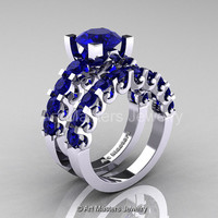 Modern Vintage 14K White Gold 3.0 Ct Blue Sapphire Designer Wedding Ring Bridal Set R142S-14KWGBS