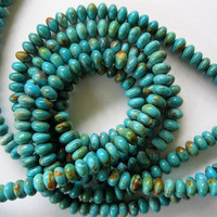 Genuine Turquoise Beads Rondelle Natural by jewelrycatsupplies