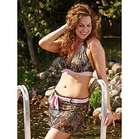 Wilderness Dreams Pink-Trimmed Camo Halter Bikini Top