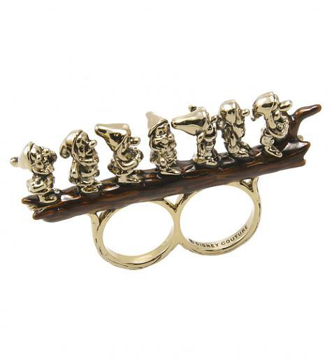 Antique Gold Plated Snow White Seven Dwarves Perching Double Ring From Disney Couture : TruffleShuffle.com
