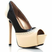 two-tone peep-toe platforms $26.40 in NUDE - Heels | GoJane.com