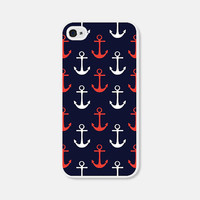 Anchor iPhone Case - Anchor iPhone 4 Case Anchor iPhone 5 Case Anchor iPhone 5c Case Anchor iPhone 5s Case Nautical Red Blue 4th of July