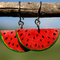Handpainted whimsical earrings watermelon by HorakovaDesigns