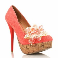 rosette canvas platform &amp;#36;22.50 in BEIGE CORAL - Heels | GoJane.com