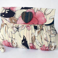 Spring Fashion Romantic Clutch Purse Pink Roses and by Oyeta