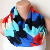 Zigzag Red White Blue Loop Infinity Circle Scarf Soft by fairstore