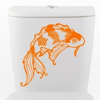 Lucky Koi toilet DECAL goldfish Home Decor Vinyl by EyvalDecal