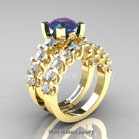 Modern Vintage 14K Yellow Gold 3.0 Ct Alexandrite White Sapphire Designer Wedding Ring Bridal Set R142S-14KYGWSAL