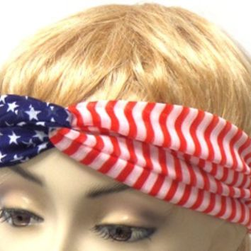 Red White and Blue 'American Flag' Stretch Headband