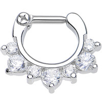 "14 Gauge 1/4"" Seven Clear Cubic Zirconia Septum Clicker 