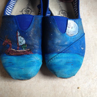Legend of Zelda Windwaker Custom Hand Painted Canvas TOMS Shoes Read Description For Details
