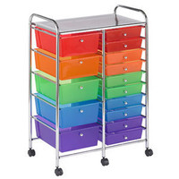 Costco - 15-drawer Mobile Organizer Multi-colored Drawers