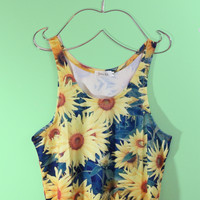 Sunflowers Crop Tank Top
