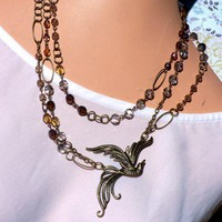 Handmade Firepolished Purple Earthtone Beaded Bronze Strand Necklace | peaceloveandallthingsjewelry - Jewelry on ArtFire