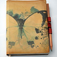 Free Initials Butterfly leather journal by revitalbookarts on Etsy