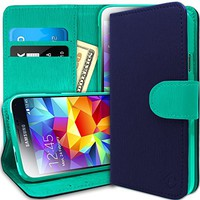 [Stand View] Caseology Samsung Galaxy S5 Premium PU Leather [Wallet Case] with Built-in Media Stand, ID Credit Card / Cash Slots and Inner Pocket [Navy Blue / Turquoise Mint] (For Verizon, AT&T Sprint, T-mobile, Unlocked)