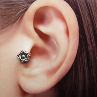 Flower Ear Cuff, Nose cuff, Tragus cuff, Rose ear cuff, Gold/Silver ear cuff,  Non Pierced Nose Ring, Cartilage, Fake piercing