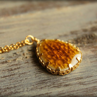 Crackled Glass Necklace in Warm Honey by saffronandsaege on Etsy